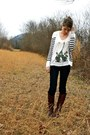 Dark-brown-arturo-chiang-boots-navy-american-eagle-jeans-white-urban-outfitt