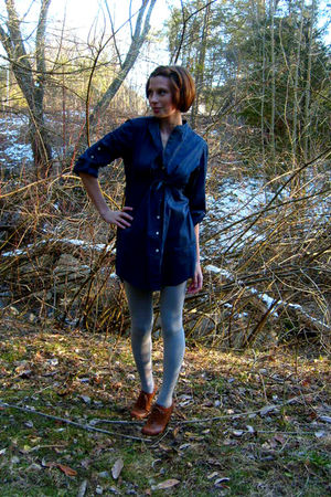 blue Old Navy dress - silver Target tights - brown Forever 21 shoes