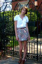 white banana republic top - brown Urban Outfitters belt - beige modcloth skirt -