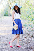 new look hat - woven Primark bag - denim button up vintage skirt