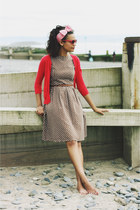 vintage dress - red cotton warehouse cardigan - Topshop accessories