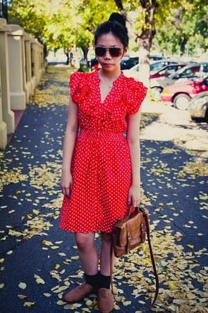 polka dot Dangerfield dress - thrifted shoes - satchel Nine West bag