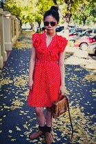 polka dot Dangerfield dress - thrifted shoes - satchel Nine West bag