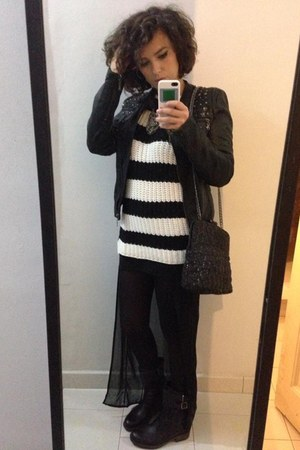 Zara sweater - pull&bear jacket - Zara bag - Zara skirt