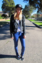 black pu biker Neon Hart jacket - blue coated cotton on jeans - black NY hat