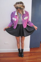 hot pink denim studded fly by bright night jacket - black Alexander Wang boots
