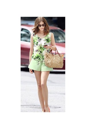 lime green pastel green Flydoll shorts - lime green tropical prints Flydoll top