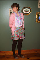 pink H&M cardigan - beige shirt - blue modcloth shorts - brown tights - brown Ba