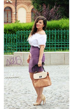 ivory top - bronze meli melo bag - tan Zara sandals