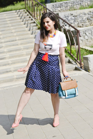 navy skirt - light pink shoes - sky blue meli melo bag - light pink burp t-shirt