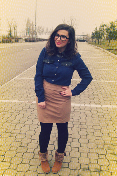 navy romwe shirt - light brown Yesstyle boots - cream Second Hand Store skirt