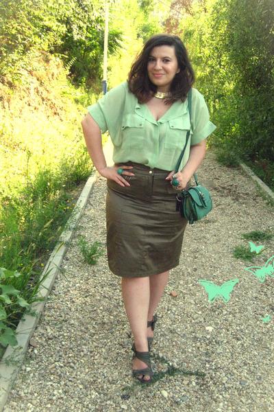 lime green SheInsider shirt - turquoise blue OASAP bag - olive green skirt