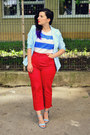 Light-blue-dresslily-blazer-sky-blue-zara-sandals-red-second-hand-pants