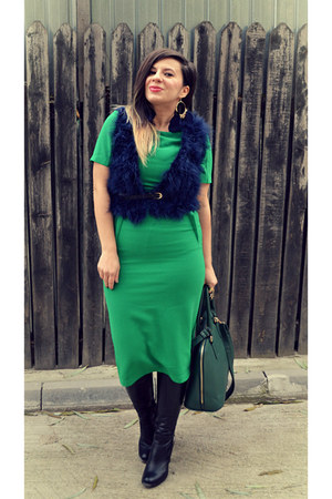 forest green bag - black boots - green Topshop dress - navy She insider vest