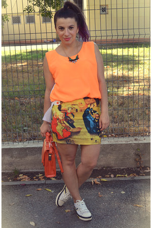 light yellow PERSUNMALL skirt - white sneakers - carrot orange top