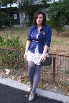pink Primark dress - blue shirt - gray moa purse - - pink - silver Nine West