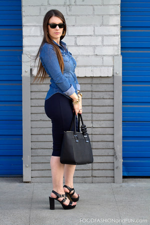 navy blue Zara skirt - denim shirt H&M shirt - black leather calvin klein bag