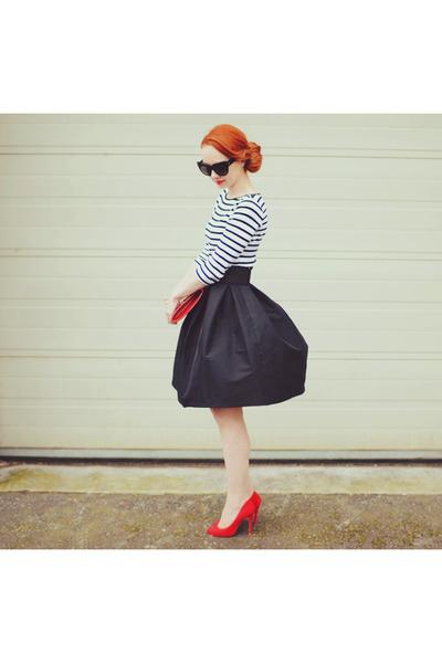 black asos skirt - red Primark heels - white Zara top