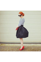 black asos skirt - red Primark heels - white Zara top