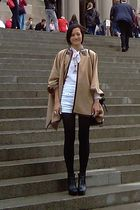 brown Zara jacket - black sam edelman boots - white f21 shorts - white vintage b