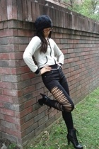 black diy slashed Marshalls leggings - black lace up bootie Payless boots