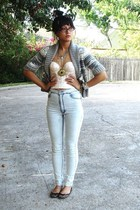 Ralph Lauren sweater - thrifted bra - Cheap Monday jeans - Steve Madden shoes -