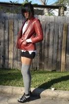 Ebay blazer - Target shorts - Target stockings - GoJane shoes