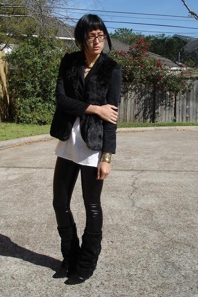Salvation Army vest - BCBG top - Ross leggings - asos boots - vintage accessorie