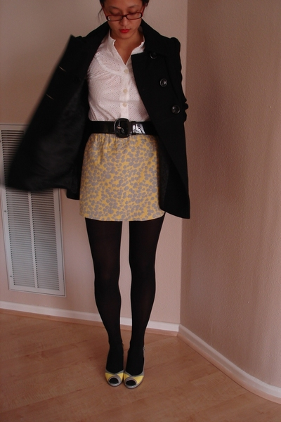 Gap blouse - thrift belt - FourEyedFun handmade skirt - Ross shoes - Guess coat