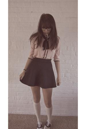 black mini Charlotte Russe skirt - saddle shoes Payless Kids shoes