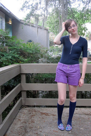 amethyst hand dyed shorts - navy hollister shirt - navy knee high Walmart socks