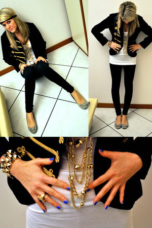 gold H&M necklace - blue H&M jacket - white H&M top - black H&M accessories