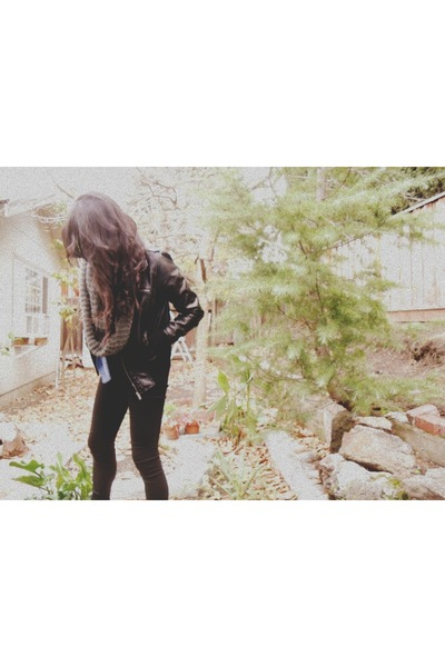 black Forever 21 jacket - black workman laceups Forever 21 boots
