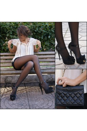 white H&M blouse - dark gray Calzedonia tights - black Chanel bag