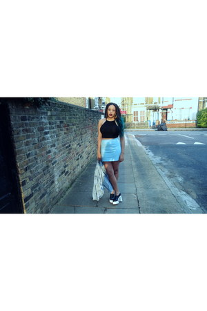 light blue Missguided skirt - light blue vintage jacket
