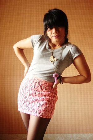 silver TRF t-shirt - pink Sigarasi ShopHop skirt - black unknown stockings - pur