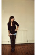 sam edelman boots - Topshop shorts - Topshop top - whistles cardigan