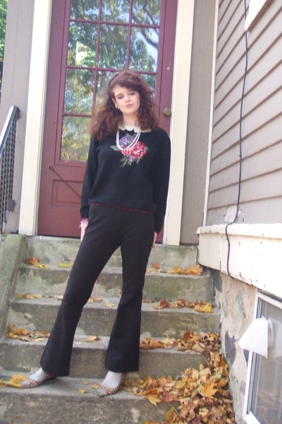 sweater - pants - necklace - Urban Outfitters earrings - shoes