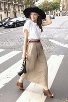 brown unknown shoes - white unknown brand shirt - tan maxi skirt
