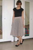 light pink full handmade skirt - black cotton Terranova t-shirt - black flats