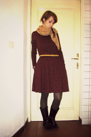 mustard scarf - black Zara boots - maroon skater Mint & Berry dress