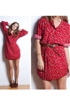 red vintage dress - brown vintage belt - brown vintage shoes