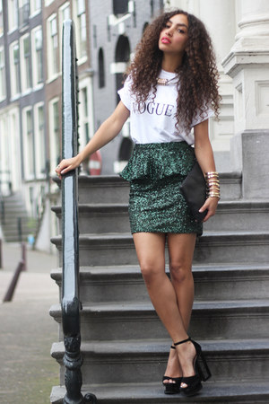 dark green areyoufashion skirt - black Ana Mar bag - black deezee heels