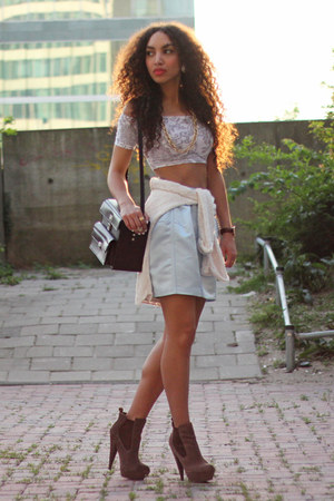 light blue asos skirt - dark brown asos boots - off white Primark sweater