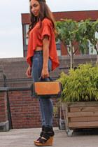 carrot orange Math top - blue River Island jeans - light orange vintage bag