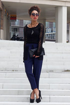 black Superstar sweater - black Ana Mar bag - black cat eye Primark sunglasses