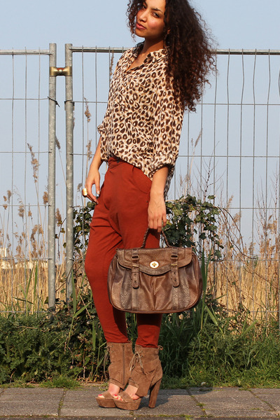 brown asos heels heels - dark brown new look Bag bag - bronze hm Blouse blouse