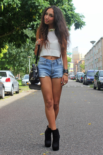 off white H&M Trend top - black Dolce Vita boots - sky blue vintage shorts