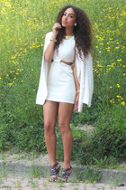 white inlovewithfashion dress - white vintage blazer - navy asos heels