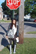 black delias blazer - white Roxy purse - black Converse boots - brown from japan